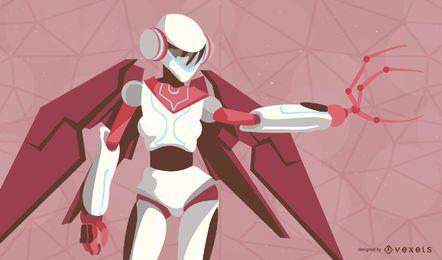Robô Feminino de vetor