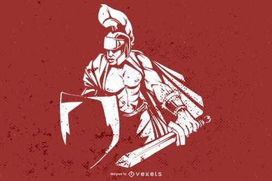 Vetor de guerreiro ocidental legal