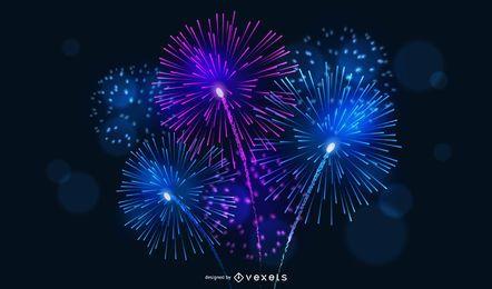 4 fogos de artifício brilhantes Vector
