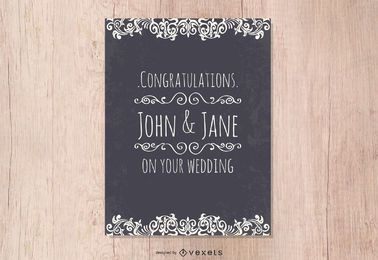 Vector de tarjeta de felicitación de boda de estilo occidental