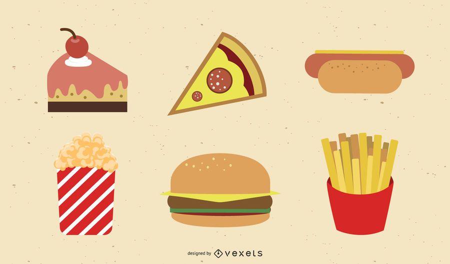 Artículos de cumpleaños de vectores y comida rápida