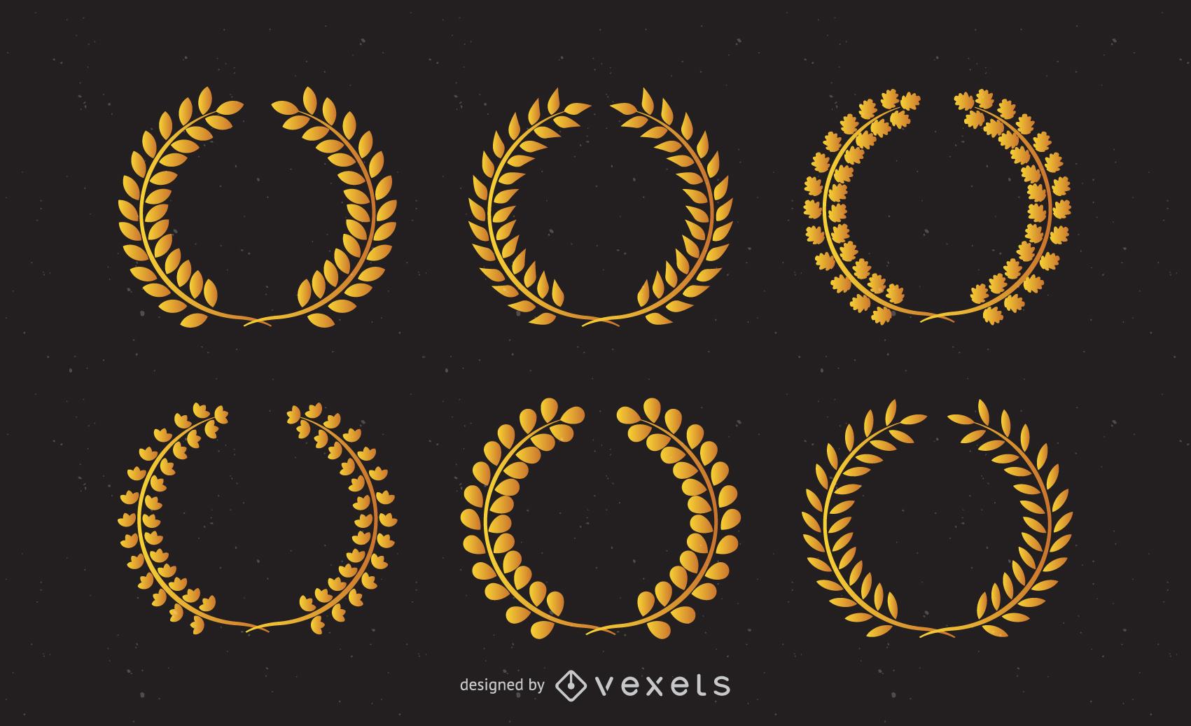 Alas de clip de vector de corona de trigo dorado