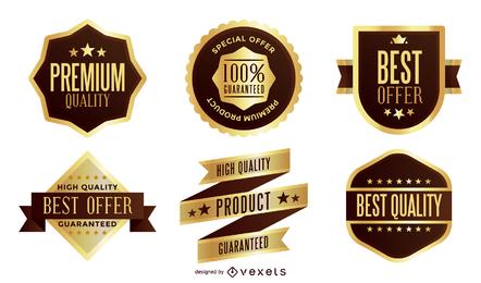 Pack de vectores de etiquetas de oro