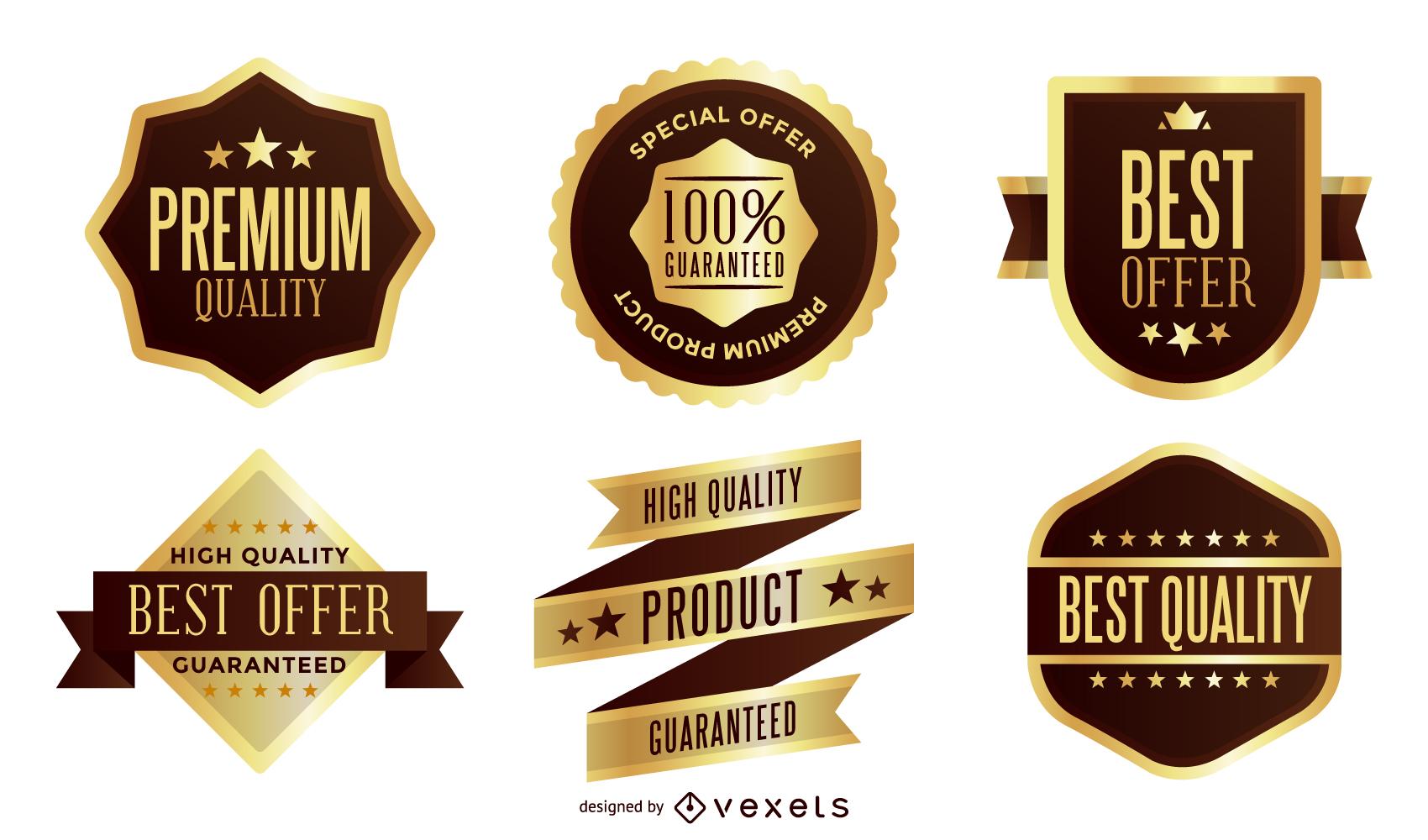 Pacote de vetores de etiqueta dourada