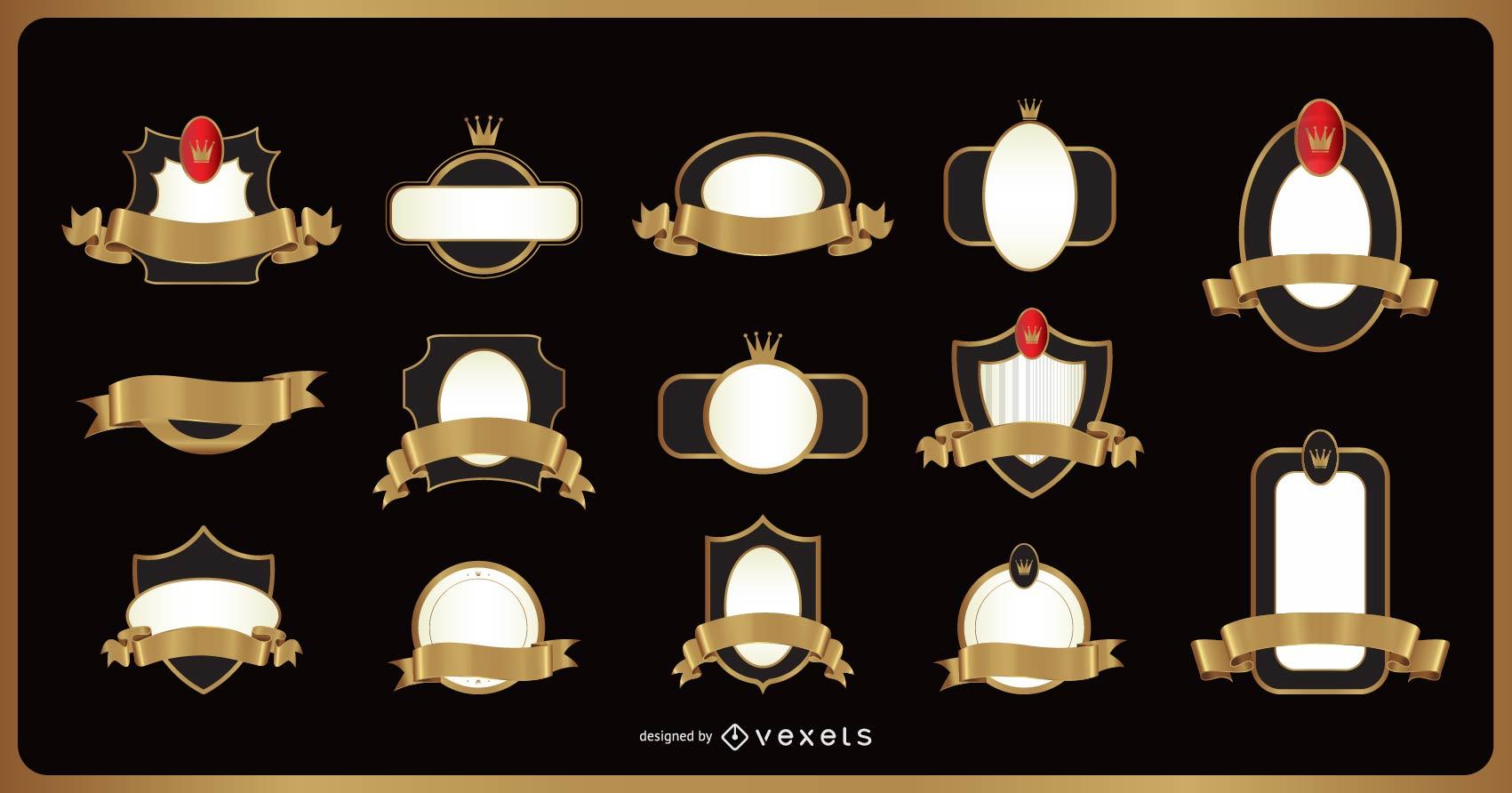 Set of 14 ribbon emblems