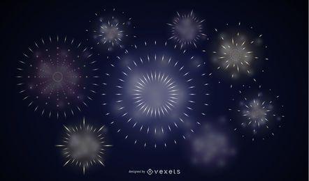 Coloridos fuegos artificiales 03 Vector