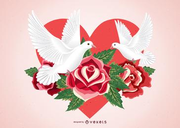 Ilustração vetorial de rosas e pombos