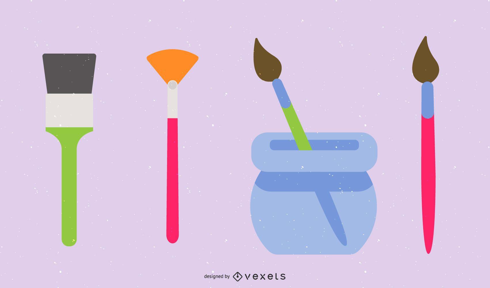 Paint brushes flat illustration set