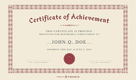 Vector de plantilla de certificado europeo exquisito