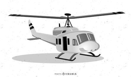 White helicopter illustration design