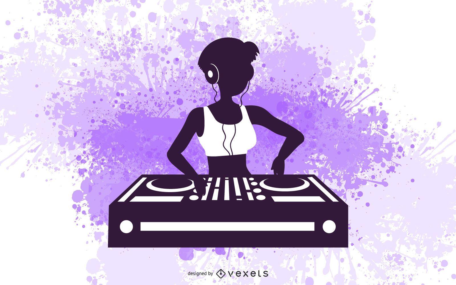 Female DJ Silhouette Design