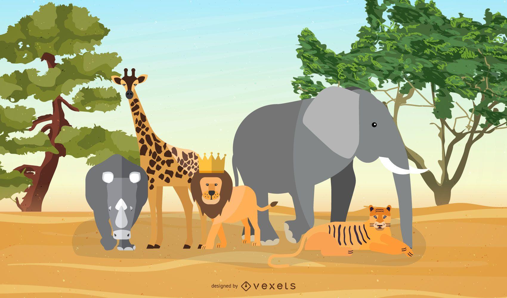 Diseño de ilustración de animales de sabana