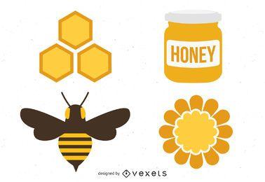Paquete de elementos de miel de apicultor
