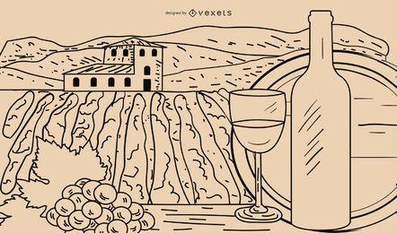 Vinho de desenho de linha vetorial