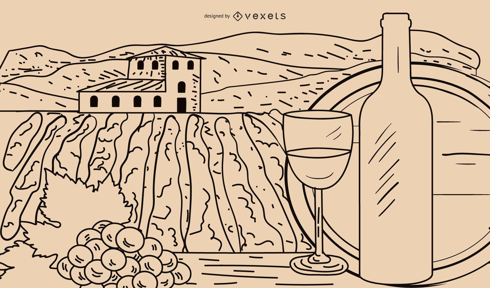 Vector Line Drawing Wine