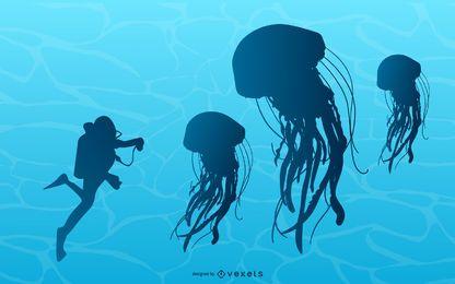 Ilustración de medusas junto a buzo.