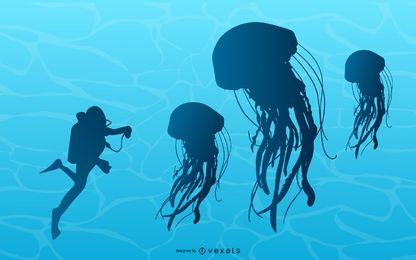 Jellyfish illustration next to diver