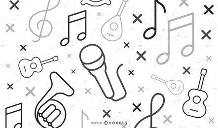 design de ilustração de elementos musicais
