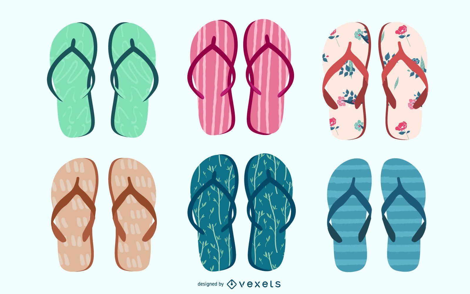 Conjunto de vetores de flip-flops coloridos