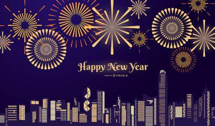 Fogos de artifício Ano Novo Noite
