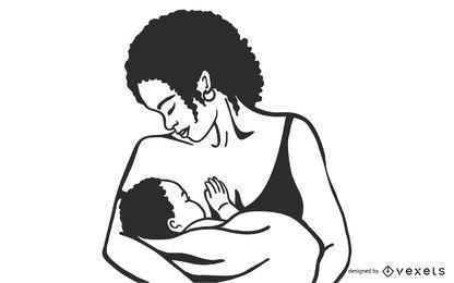 diseño de ilustración de lactancia materna
