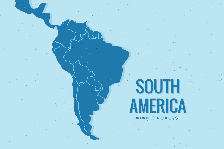 Diseño de ilustración de mapa de América del sur