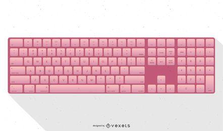Ilustración rosada del teclado de Apple