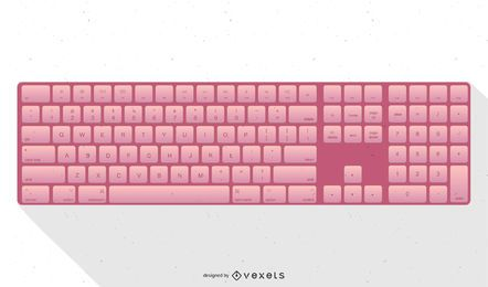 Pink Apple Keyboard Illustration