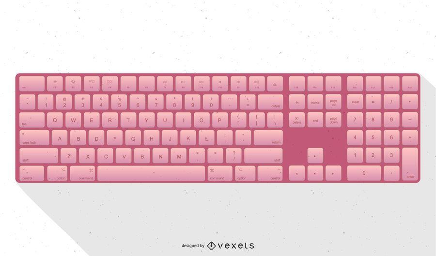Pink Apple Keyboard Illustration