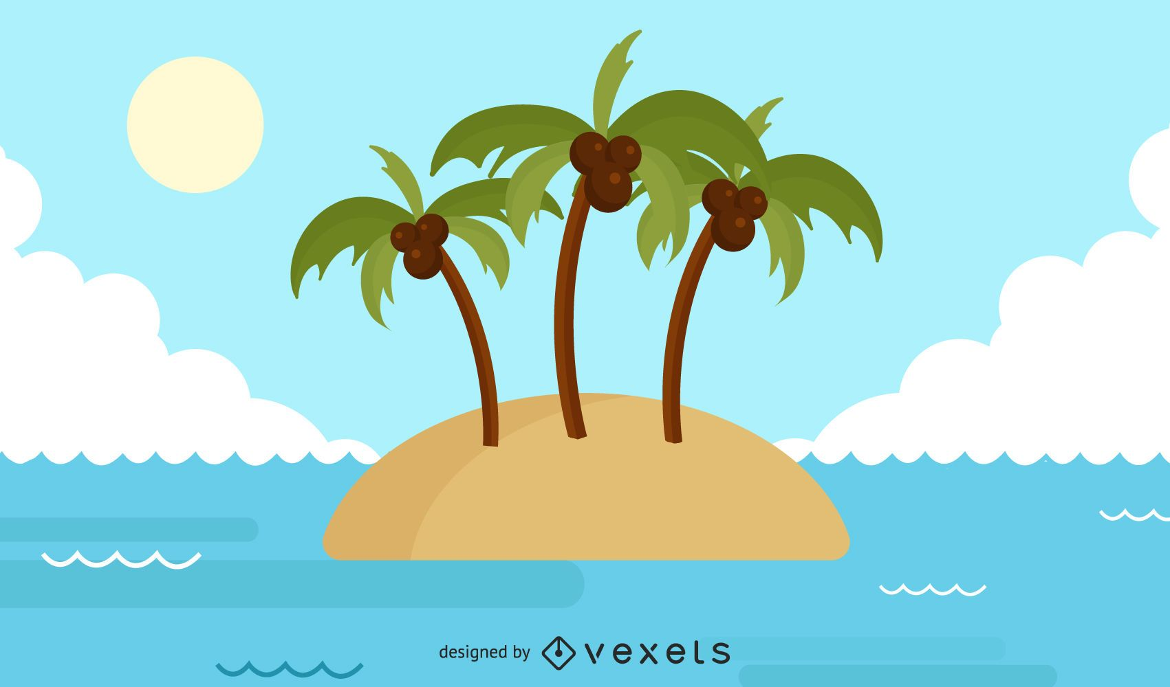 Deserted island illustration design