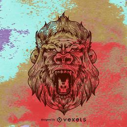 Ilustración de gorila sobre fondo grunge