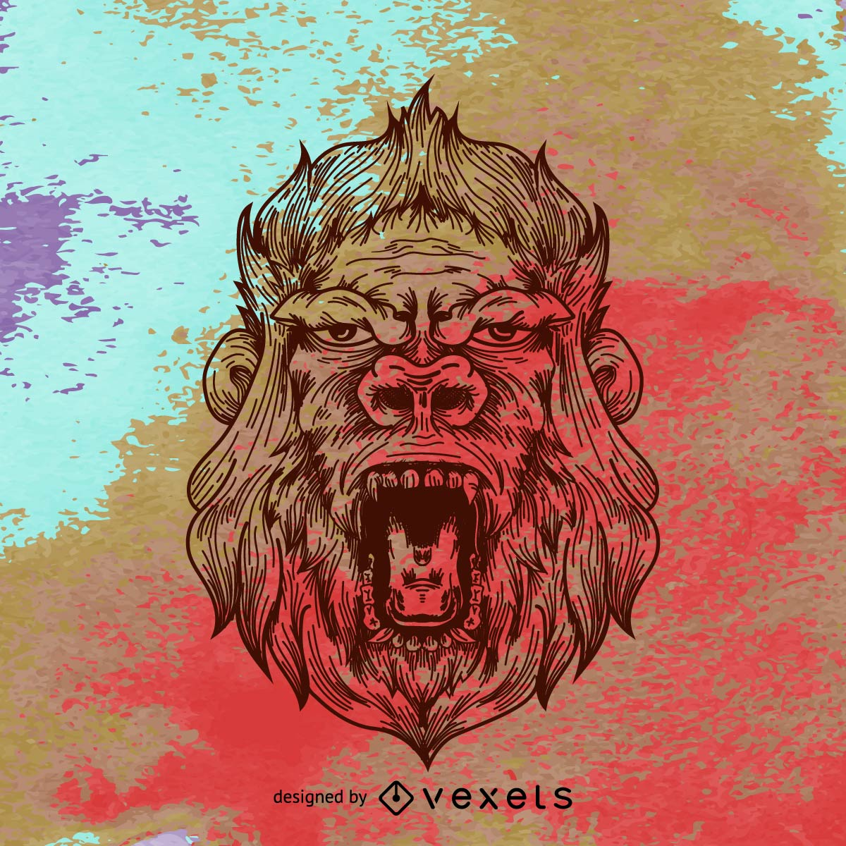 Gorilla illustration over grunge background