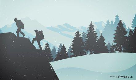 Silueta de personas de senderismo de invierno