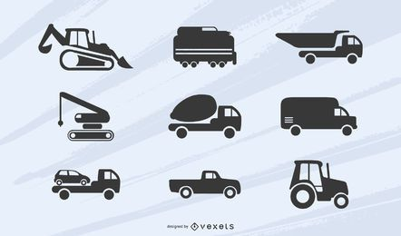 Construction and transportation vehicles silhouettes