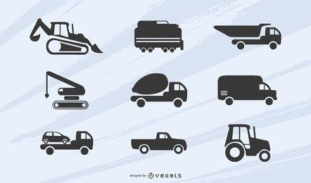 Silhuetas de caminhões e escavadeiras