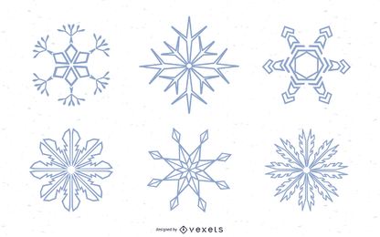 Conjunto de silhuetas de flocos de neve