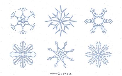 Conjunto de siluetas de copos de nieve