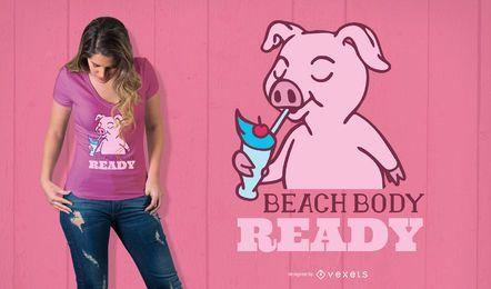 Projeto do t-shirt do corpo da praia
