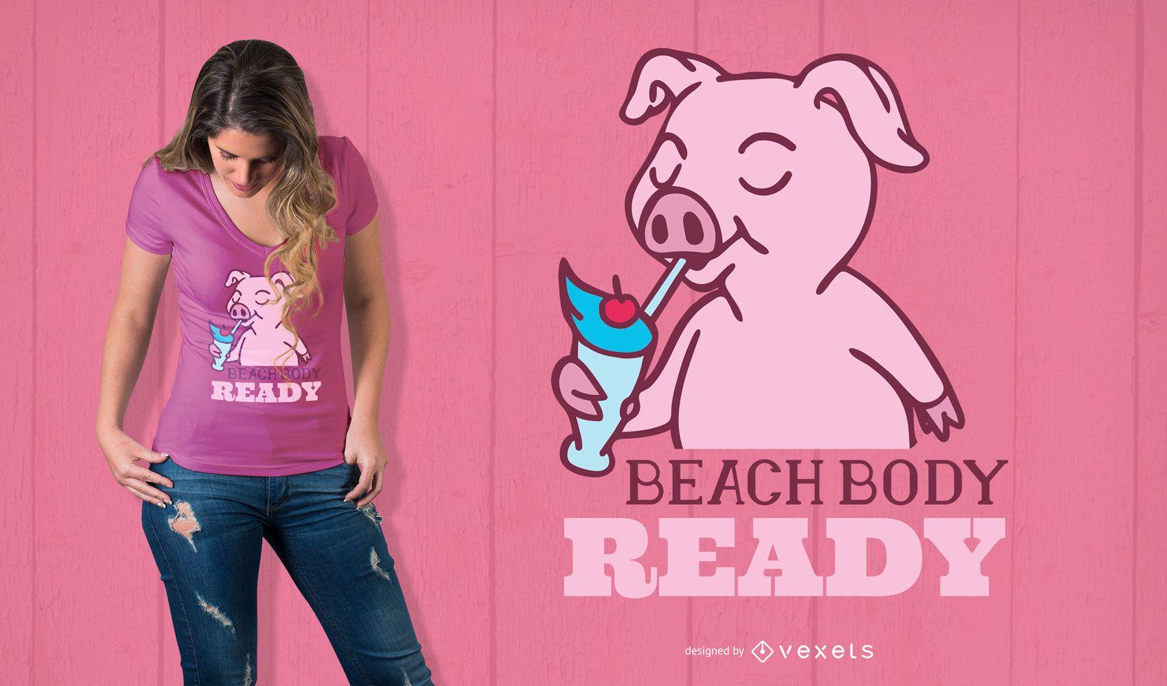 Diseño de camiseta de cuerpo de playa
