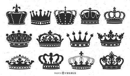 Conjunto de coroa ilustrado