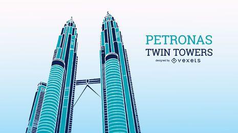 Petronas Twin Towers Illustration