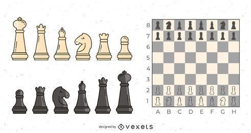 Conjunto de objetos de ajedrez