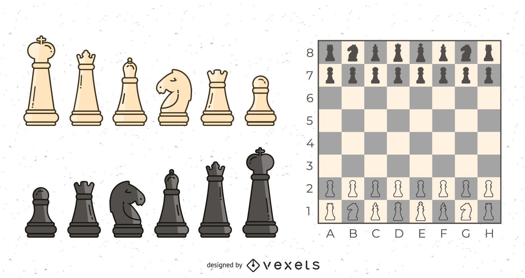 Conjunto de ilustración de piezas de ajedrez