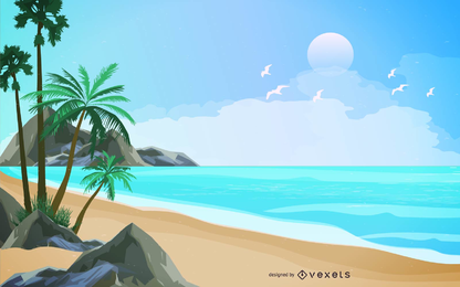 Diseño de paisaje de playa tropical