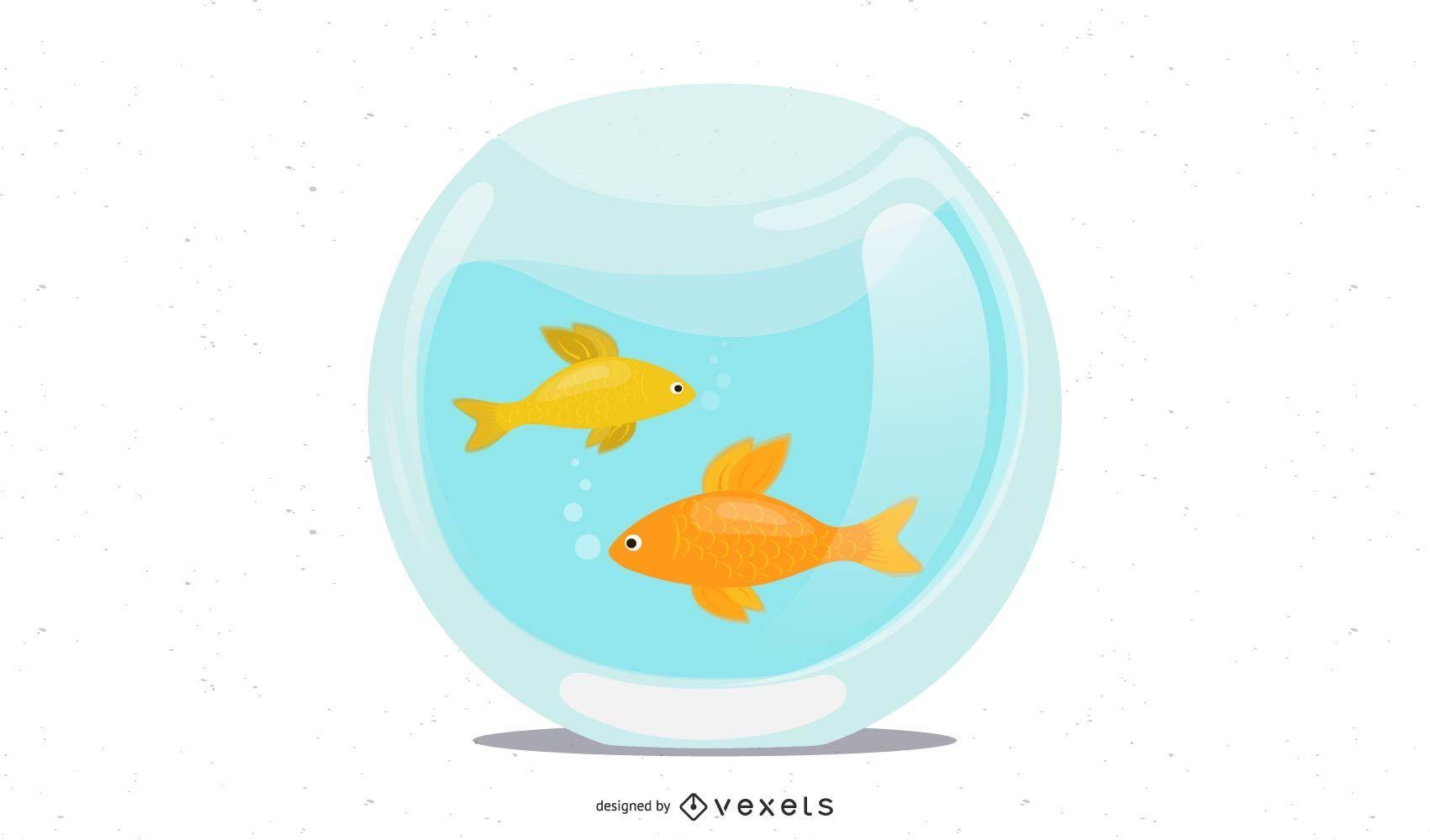 diseño de ilustración de peces de colores de pecera