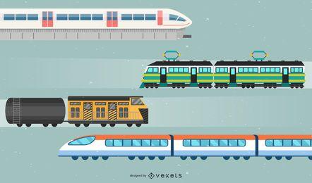 Conjunto de ilustración de tren
