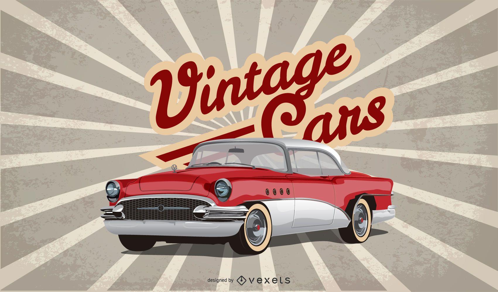 diseño de ilustración de coche de época