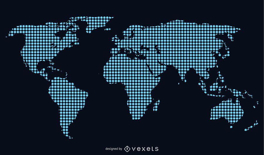 Mapa do mundo pontilhado azul