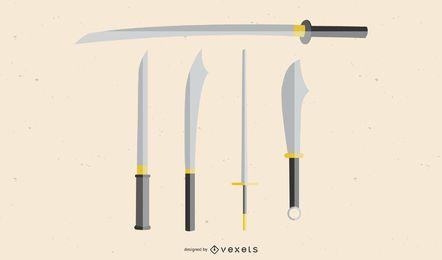 Knives And Swords Vectors Japanese Sword Vector Samurai Vector Ai Kungfu Sword Ai Kill Bill Samurai Vector