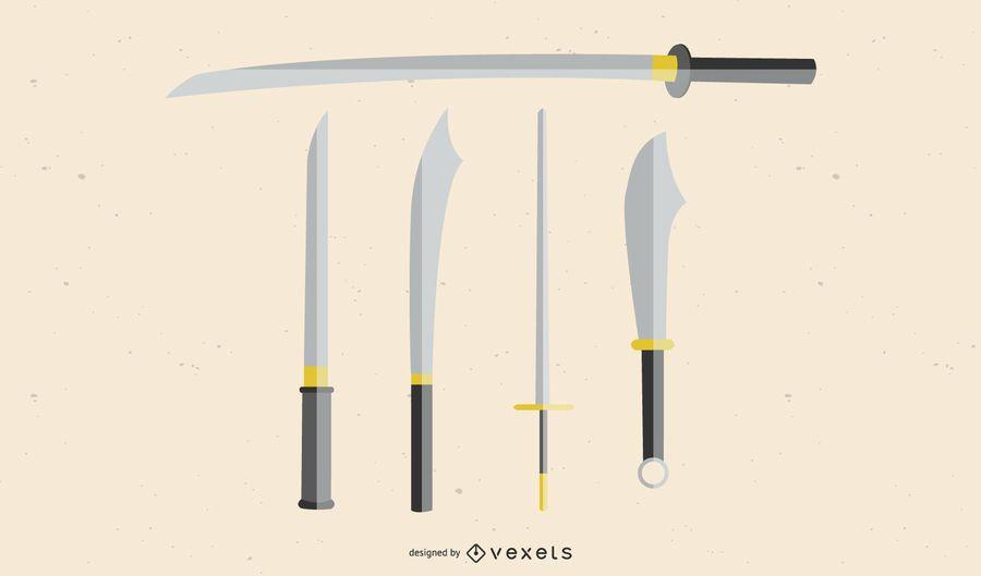 Espadas e vetores de espadas Espada japonesa vetor Samurai vetor Ai Kungfu espada Ai Kill Bill Samurai Vector
